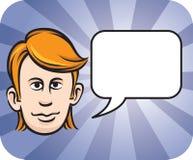 Blond face with speech bubble. Vector illustration of blond face with speech bubble Royalty Free Stock Photos