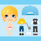 Blond Fashion Boy. Sweet and cute blond fashion boy clothes paper doll collection set Stock Photos