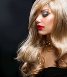 Blond Fashion Girl. Model With Long Blond Hair Royalty Free Stock Image