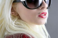 Blond fashion girl portrait red lips stock photos