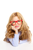 Blond fashion kid girl with glasses portrait Stock Image