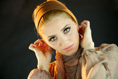 Blond fashion model. Serious looking into camera Stock Image