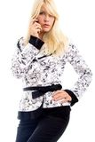 Blond Fashion Model on Cell Stock Photo