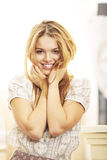 Blond fashion model smiling morning Stock Photo