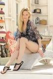 Blond Fashion Model Sunny Room Royalty Free Stock Photos