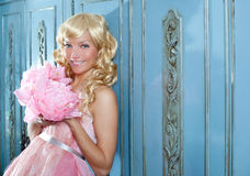 Blond fashion princess and wintage flowers dress Stock Images