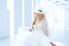 Blond fashion woman with eighteenth century corset Royalty Free Stock Photography
