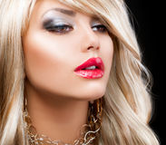 Blond Fashion Woman Portrait Stock Image