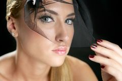 Blond fashion woman portrait with tulle Royalty Free Stock Photography