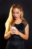 Blond fashion woman smartphone Stock Photos