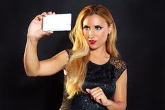 Blond fashion woman smartphone selfie Stock Photo