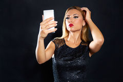 Blond fashion woman smartphone selfie Royalty Free Stock Images