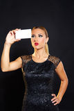 Blond fashion woman smartphone selfie Stock Images