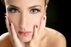 Blond fashion woman tulle veil portrait Stock Images