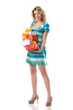 Blond female with christmas presents Royalty Free Stock Photo