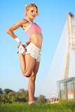 Blond female fitness model Stock Photo