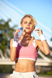 Blond female fitness model Royalty Free Stock Images