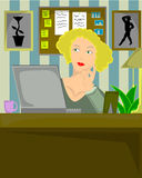 Blond female sitting in home office. Vector illustration of blond female sitting in home office thoughtfully working on laptop Royalty Free Stock Photos