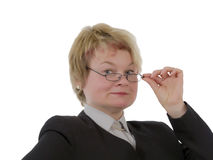 Blond female teacher. Isolated on a white background Royalty Free Stock Photo