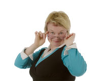 Blond female teacher. Isolated on a white background Stock Photography