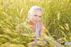 Blond on field Royalty Free Stock Photography