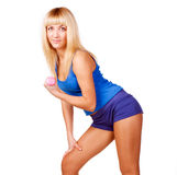 Blond fitness woman Royalty Free Stock Image