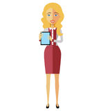 Blond flat business woman lady character using tablet young cart. Oon banker with tablet vector isolated on white eps 10 Royalty Free Stock Photography