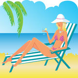 blond flicka för strand Arkivfoton
