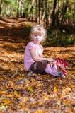 Blond flicka i den mest forrest hösten Arkivfoton
