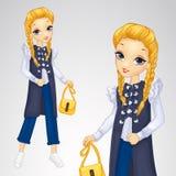 Blond flicka i lång Waistcoat Royaltyfri Fotografi