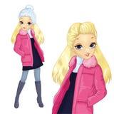 Blond flicka i omslag stock illustrationer