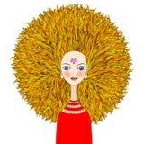 Blond flicka med dramatiskt hår stock illustrationer