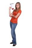 Blond flicka med högtalaren Royaltyfri Foto
