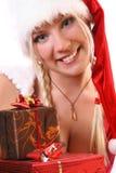 blond flicka santa Arkivfoton