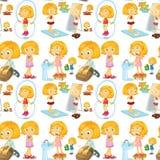 Blond flicka som gör olika aktiviteter royaltyfri illustrationer