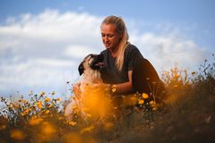 Blond flicka som spelar med den spanska mastiffen f?r valp i ett f?lt av gula blommor arkivbilder