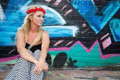 Blond flickakvinna arkivfoton