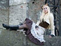 blond flickasteampunk Fotografering för Bildbyråer