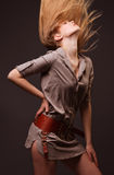 Blond flying hair. Beautiful blond girl with flying hair Stock Photography