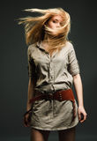 Blond flying hair. Beautiful blond girl with flying hair Royalty Free Stock Photos