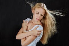 Blond flying hair Royalty Free Stock Photography