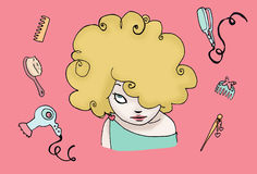 Blond funny hair. A funny curly hairstyle of a blond girl, with many hair accessories. Digital colors Royalty Free Stock Images