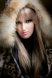 Blond in fur Royalty Free Stock Photo