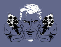 Blond gangster man. With guns in Stock Image