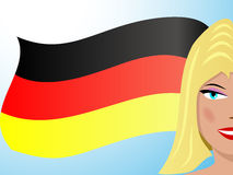 Blond and German flag Stock Image