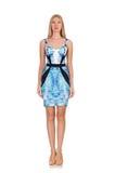 Blond geïsoleerd haarmeisje in mini blauwe kleding Stock Fotografie