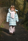Blond girl. In forest walk Royalty Free Stock Images