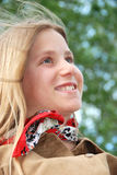 Blond Girl. A young blond teenagers smiling in the park stock images