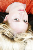 Blond girl 4. Young blond girl face close-up stock photos