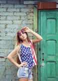 Blond girl in american retro style Stock Images